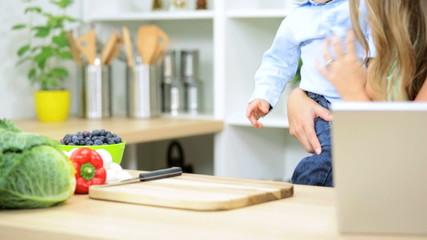 Caucasian Mom Baby Boy Home Kitchen