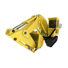 Excavator on a white background