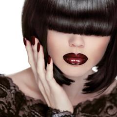 Sexy Lips. Manicure and Makeup. Lipstick. Fashion Girl. Fringe.
