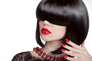 Sexy Glamour Girl. Fashion portrait of brunette woman with black