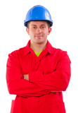 worker wearing in red jacket and blue hardhat