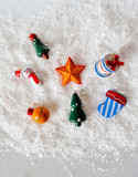 Snowman Ornaments on White Background