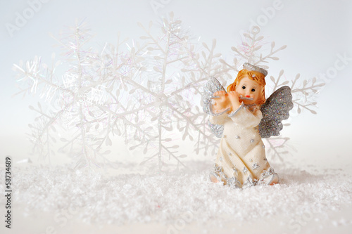 Christmas angel on white background
