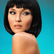 portrait of  beautiful woman with bob hairstyle