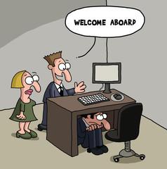 New office worker cartoon gag