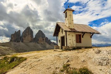 Typical Tirolian chapel in the Dolomites,Tre Cime Di Lavaredo (D