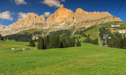 Panoramic view of Rosengarten mountain range in Dolomites,Italy
