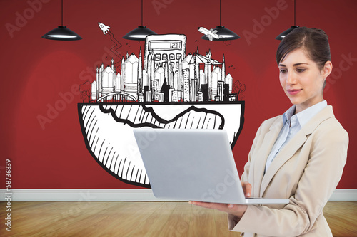 Composite image of confident businesswoman holding laptop