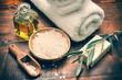 Leinwanddruck Bild - Spa setting with natural olive soap and sea salt