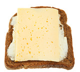 sandwich from rye bread, dairy butter and cheese