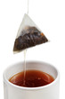 removing of tea bag from cup with brewing tea