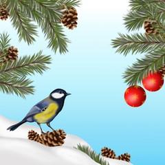 illustrazione natalizia con cinciarella