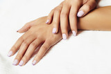 manicure.female hands.in beauty salon.woman.shellac polish