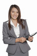 Businesswomen in office attractive young using tablet