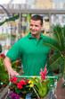 mann kauf pflanzen im gartencenter ein
