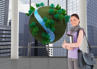 Composite image of attractive student holding books and her bag