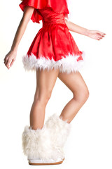 santa girl with beautiful legs