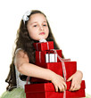 funny girl with presents