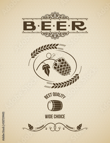 beer hops design vintage background