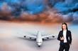 Composite image of portrait of a confident businesswoman standin