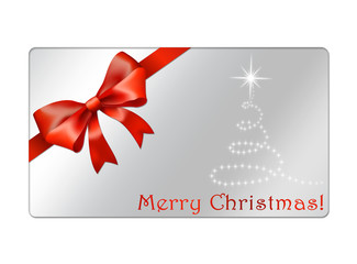 Christmas Gift Card with red bow and abstract christmas tree