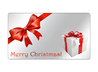 Christmas Gift Card with red bow and Giftbox