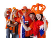 canvas print picture - Group of Dutch soccer fans making polonaise over white backgroun