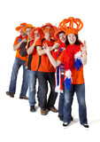 Group of Dutch soccer fans making polonaise over white backgroun