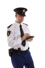 Dutch police officer filling out parking ticket. over white back