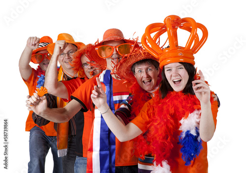 canvas print picture Group of Dutch soccer fans making polonaise over white backgroun