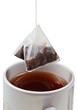 tea bag over brewing tea in mug