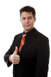 businessman is pleased with thumbs up isolated on white backgrou
