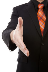 businessman is shaking your hand in closeup