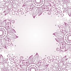 Floral frame in purple