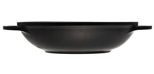 side view of open flatter-bottomed wok pan
