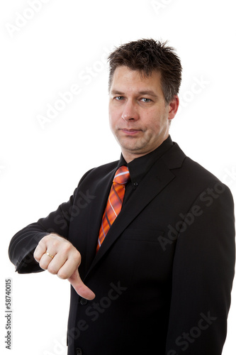 businessman with thumbs down isolated on white background