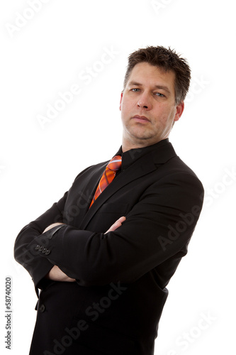 businessman is standing over white background