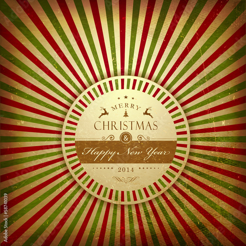 Christmas grunge light rays background with label