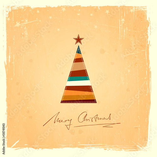 Retro Christmas tree grunge background