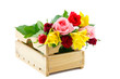 auction crate with colorful roses