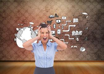 Composite image of stressed businessswoman with hand on her head