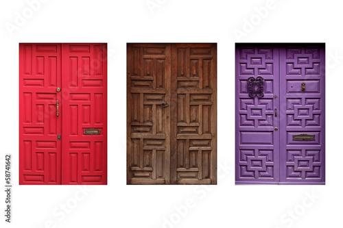 three colorful mexican doors isolated on white background