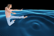 Composite image of woman doing dance pose