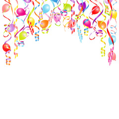 Background Colored Streamers & Balloons