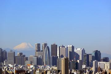 東京都心から見える、冠雪した富士山と新宿高層ビル群(2013年11月)