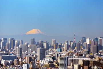 東京都市風景 朝日で赤く染まる富士山と東京都心の街並