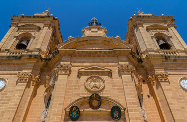 Low angle view of the Xaghra parish church in Gozo, Malta