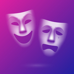 Comedy and tragedy theatrical masks. Easy to edit color.