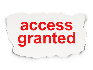 Security concept: Access Granted on Paper background