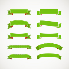 Different retro style green ribbons. Ready for a text